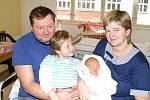 KRISTÝNKA Výdová se narodila mamince Lence a tatínkovi Jiřímu 3. ledna. Měřila 48 cm a vážila 3020 cm. Bydlet bude s rodiči a sestřičkou Terezkou v Mladé Boleslavi.