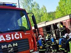 Hasiči zasahovali u požáru lokomotivy