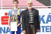 Boleslavský atlet Jiří Zemjánek (vlevo) byl se stříbrem na šampionátu spokojen, stejně jako jeho trenér Jiří Hlaváč (vpravo)