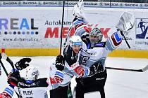 Mladoboleslavští hokejisté prohráli doma s Karlovými Vary 1:3. Gól dal i hostující brankář Novotný.