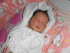 TEREZA Šubrtová se narodila 3. listopadu s mírami 3,41 kilogramů a 48 centimetrů. S maminkou Lucií a tatínkem Davidem bude bydlet v Sovínkách.