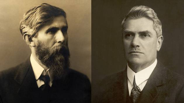 V roce 1895 položili základy společnosti ŠKODA AUTO (zleva) knihkupec Václav Klement a mechanik Václav Laurin, oba vášniví cyklisté.
