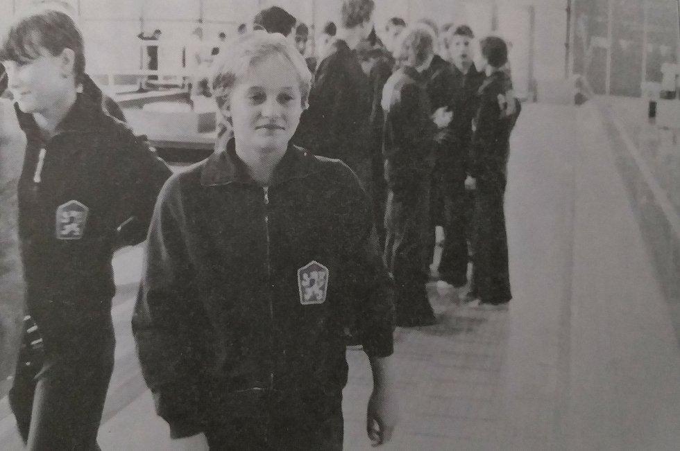 Martina Bílková, první juniorská reprezentantka ČSSR z oddílu. Snímek je z mezistátního závodu juniorů ČSSR - NDR v Českých Budějovicích v roce 1980