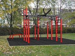 Vizualizace workoutového hřiště, které vyroste podél Tyršovy a Smetanovy ulice