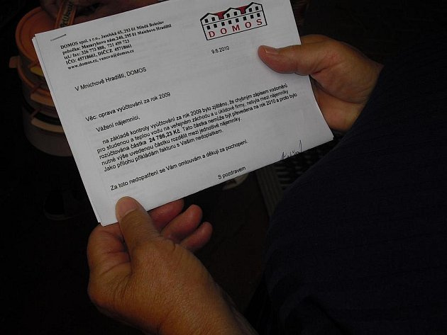 Dopis, který obdrželi všichni obyvatelé Domu s pečovatelskou službou.