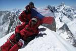 Šťastní Petr Mašek (nahoře) a Radek Jaroš na vrcholu Gašerbrum II (8035 m n. m.).