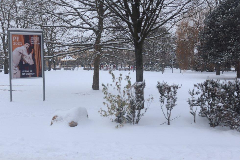 Mladou Boleslav zasypal sníh - park Výstaviště