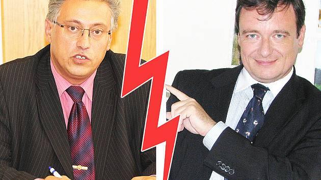 Primátor Mladé Boleslavi Raduan Nwelati (ODS) a hejtman David Rath (ČSSD).