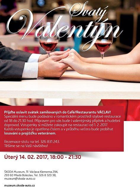 Svátek zamilovaných vCafé/Restaurantu Václav ve Škoda Muzeu vMladé Boleslavi.