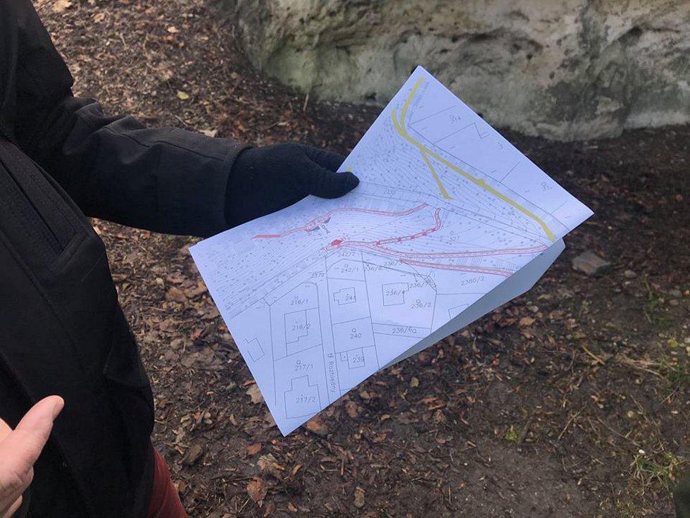 Mapka lesoparku v Mnichově Hradišti.
