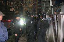 Bezpečnostní opatření při fotbalovém utkání v Mladé Boleslavi.