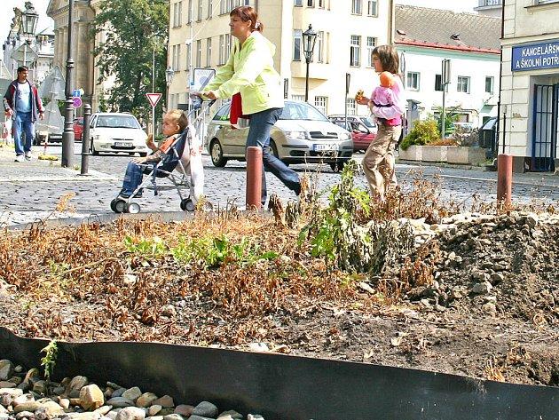 Místo kolem kašny na Českobratrském náměstí chodí lidé kolem plochy zarostlé suchou trávou. Snad se to změní!