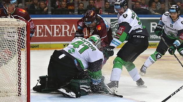 Hokejisté Sparty hostili v extralize Mladou Boleslav.
