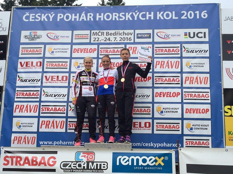 Mladší žákyně Kateřina Hladíková se v Bedřichově stala mistryní České republiky. Její velká kamarádka Adéla Kyselová (vlevo) získala stříbrnou medaili.