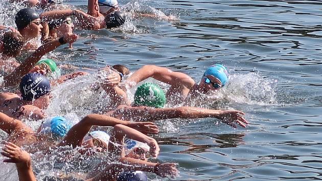 Plavec David Verner zvítězil v Českém poháru dálkového plavání. (Plavec v popředí s modrou čepicí)