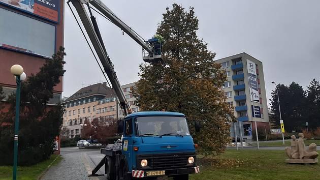Instalace vánoční výzdoby v Mladé Boleslavi.