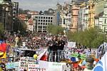 Demonstrace na pražském Václavském náměstí.