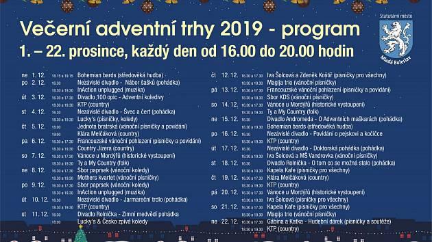 Plakát s programem Večerních adventních trhů