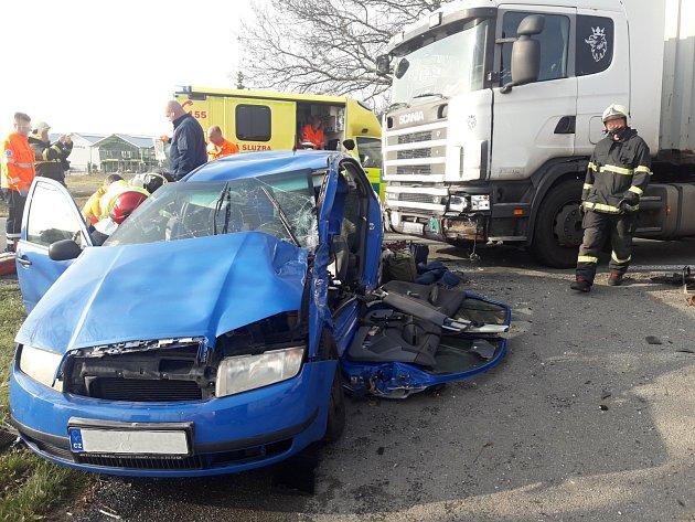 Dopravní nehoda na silnici I/38 uSmilovic.
