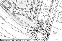 Situační nákres dává představu, jak bude kruhový objezd a okolní část ulice Víta Nejedlého vypadat.