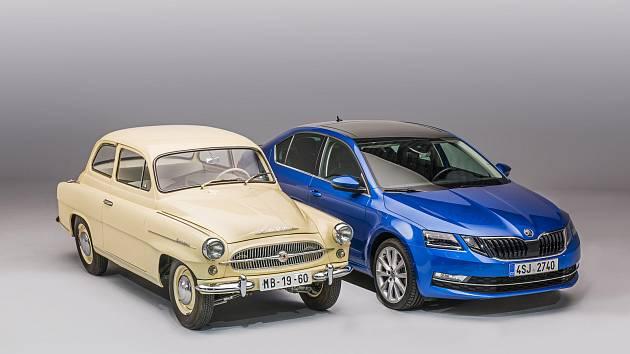 Do dnešních dnů se pro některý z vozů ŠKODA OCTAVIA rozhodlo téměř 6,5 milionu zákazníků. Na snímku zástupce úplně první generace z roku 1959 a aktuální model.