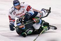 Předehrávka 42. kola hokejové extraligy: HC Vítkovice Ridera - BK Mladá Boleslav, 4. prosince 2018 v Ostravě. Na snímku (zleva) Roman Ondřej a Jakub Orsava.