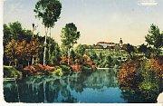 Panorama Jizery – barevná pohlednice z roku 1902
