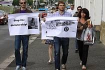 Demonstrace proti podpoře MS v hokeji v Bělorusku