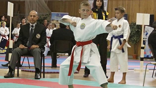 Jakub Pečenka v semifinále kata mladších žáků předvedl kvalitní výkon.