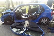 Dopravní nehoda na silnici I/38 u Smilovic.