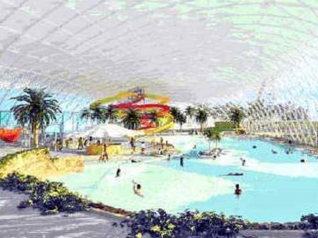 Toto je představa tropického krytého akvaparku s průplavem do venkovního bazénu. V České republice nic podobného neexistuje.