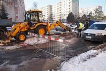 havárie vody v ulici 17. listopadu v Mladé Boleslavi