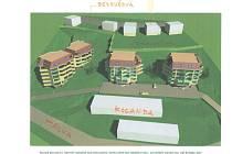 Vizualizace projektu bytových domů na Kocandě.