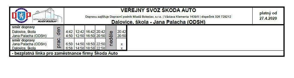 Veřejná doprava - Dalovice, škola