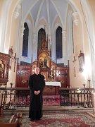 PAVEL MACH, mnichovohradišťský farář, který v kapli ve Žďáře pohovořil o křesťanských hodnotách.