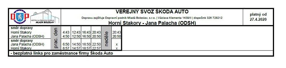 Veřejná doprava - Horní Stakory