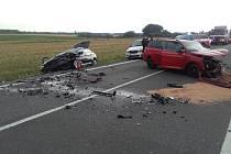 Vážná dopravní nehoda tří aut se odehrála u Smilovic