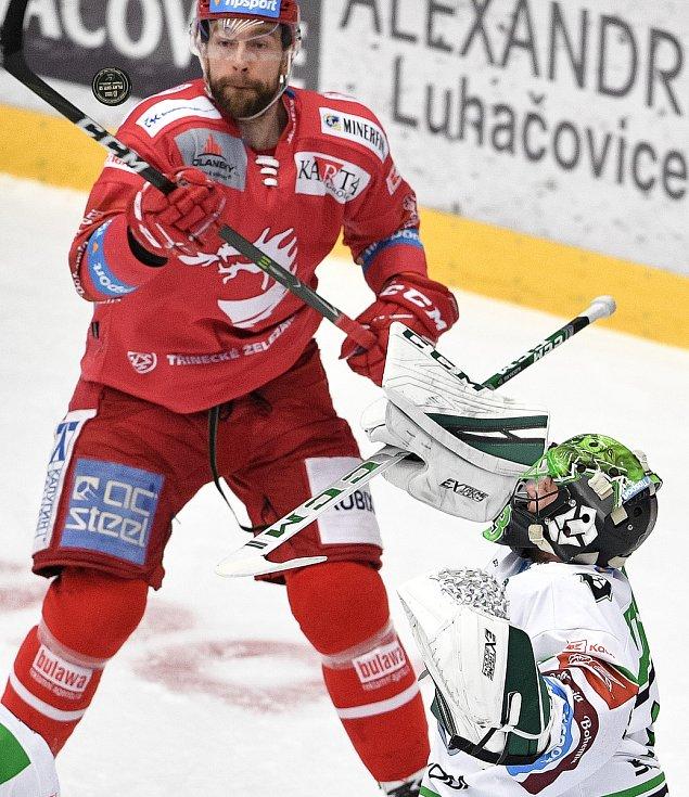 Semifinále play off hokejové Tipsport extraligy - 5. zápas: HC Oceláři Třinec - BK Mladá Boleslav, 11. dubna 2021 v Třinci.