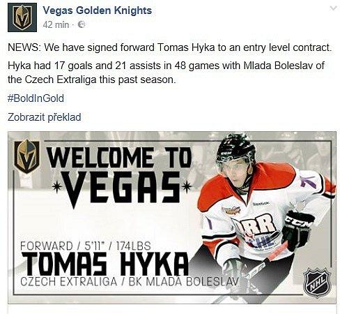 Las Vegas potvrdil příchod Tomáše Hyky