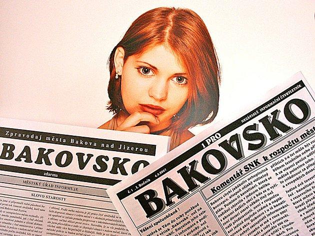 Není Bakovsko jako Bakovsko. Zpravodaj vlevo vydává radnice, Bakovsko vpravo opozice