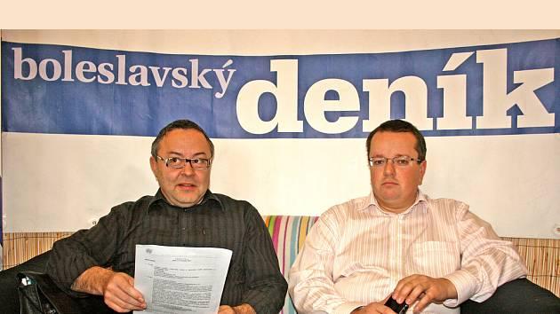 Členové představenstva Klaudiánovy nemocnice Mladá Boleslav Jaroslav Mitlener (vlevo) a Václav Řičář (vpravo).