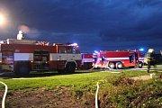 Požár seníku Semčice 30.7.2012
