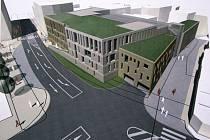 Vizualizace podoby budoucího parkovacího domu na Komenského náměstí v Mladé Boleslavi.