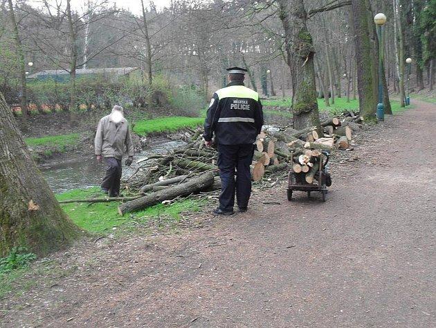 Starší muž si chtěl ze Štěpánky odvézt jen trochu dřeva. Chytili ho strážníci.