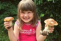 Leontinka z Prahy, která na Boleslavsku houbařila se svými rodiči, se radovala z nálezu krásných a zdravých hřibů.