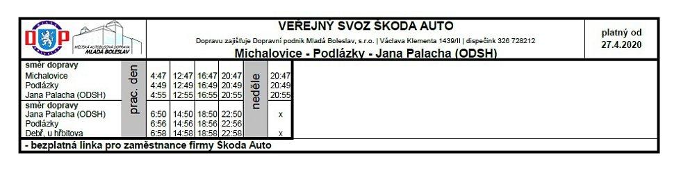 Veřejná doprava - Michalovice, Podlázky