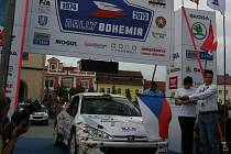 Start Rally Bohemia 2013 na Staroměstském náměstí v Mladé Boleslavi