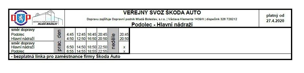 Veřejná doprava - Podolec