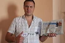 David Rosbek z Mladé Boleslavi s pořadovým číslem ze soutěže Česko Slovensko má talent.