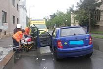 Srážka dvou automobilů Husova ulice Boleslav
